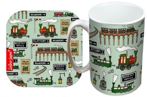 Selina-Jayne Steam Trains Limited Edition Designer Mug and Coaster Gift Set